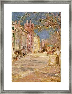 Boston Street Scene. Boston Common Framed Print