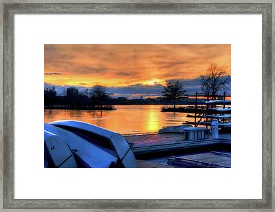 Boston Sunset On The Charles River With Citgo Sign Framed Print by Joann Vitali