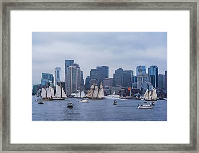 Boston Tall Ship Parade 2017 Ships In The Harbor Framed Print