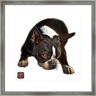 Framed Print featuring the digital art Boston Terrier Art - 8384 - Wb by James Ahn