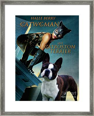 Boston Terrier Art Canvas Print - Catwoman Movie Poster Framed Print by Sandra Sij