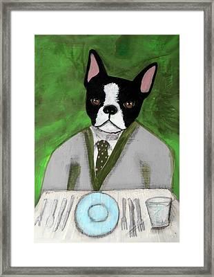 Boston Terrier At A Formal Dinner Framed Print