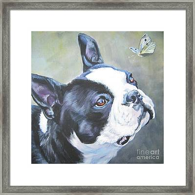 boston Terrier butterfly Framed Print