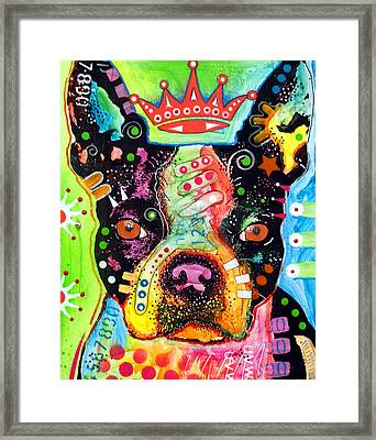 Boston Terrier Crowned Framed Print by Dean Russo