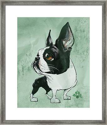 Boston Terrier - Green  Framed Print
