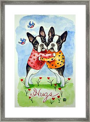 Boston Terrier Hugs Framed Print