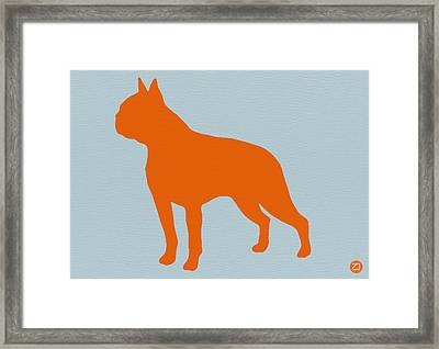 Boston Terrier Orange Framed Print by Naxart Studio