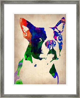 Boston Terrier Watercolor Framed Print by Naxart Studio