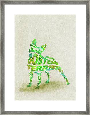 Boston Terrier Watercolor Painting / Typographic Art Framed Print