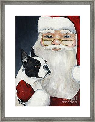 Boston Terrier With Santa Framed Print