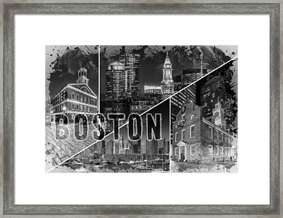 Boston Urban Collage No 1 Framed Print