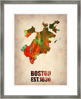 Boston Watercolor Map  Framed Print