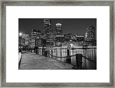 Boston Waterfront Boston Skyline Black And White Framed Print