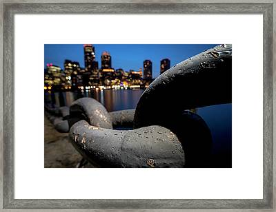Boston Waterfront Chain Closeup Detail Boston Ma Framed Print by Toby McGuire