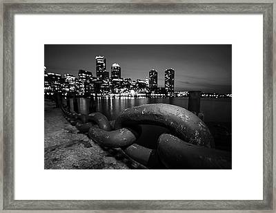 Boston Waterfront Chain Detail Boston Ma Black And White Framed Print by Toby McGuire