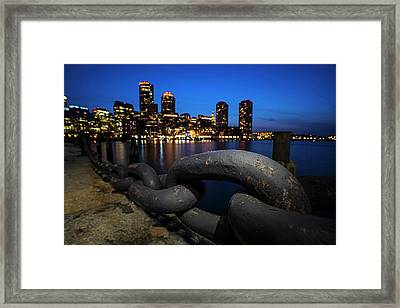 Boston Waterfront Chain Detail Boston Ma Framed Print by Toby McGuire