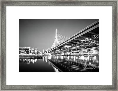 Boston Zakim Bridge At Night Black And White Photo Framed Print by Paul Velgos