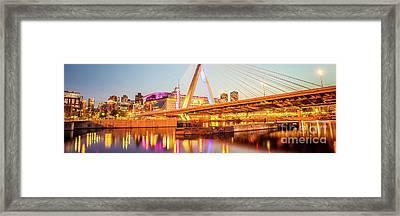Boston Zakim Bridge At Night Panorama Photo Framed Print