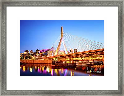 Boston Zakim Bridge At Night Photo Framed Print