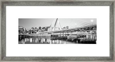 Boston Zakim Bridge Black And White Panorama Photo Framed Print by Paul Velgos