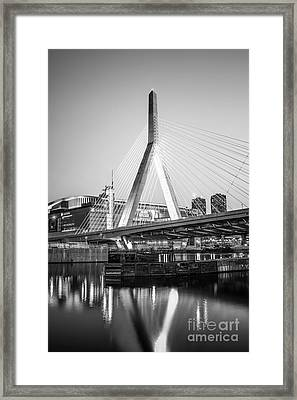 Boston Zakim Bridge Black And White Photo Framed Print