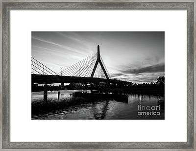 Boston Zakim Bridge Black And White Picture Framed Print by Paul Velgos