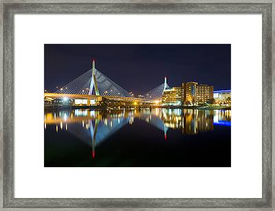 Boston Zakim Bridge Reflections Framed Print by Shane Psaltis