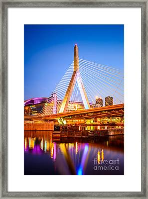 Boston Zakim Bunker Hill Bridge At Night Photo Framed Print