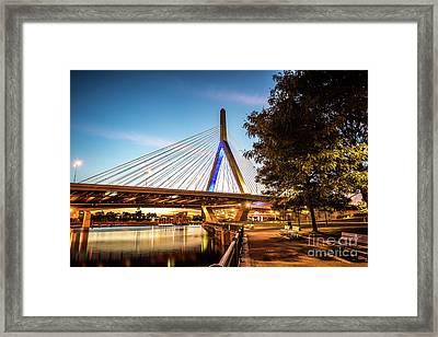 Boston Zakim Bunker Hill Bridge At Night Picture Framed Print