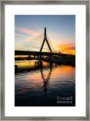 Boston Zakim Bunker Hill Bridge At Sunset Framed Print