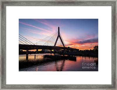 Boston Zakim Bunker Hill Bridge At Sunset Photo Framed Print