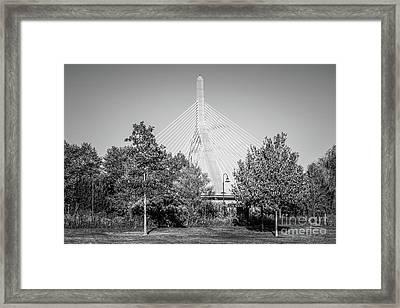 Boston Zakim Bunker Hill Bridge Black And White Photo Framed Print