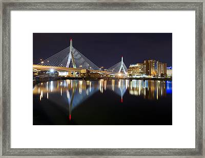Boston Zakim Memorial Bridge Nightscape II Framed Print