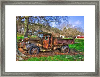 Boswell 1947 Dump Truck Farm Scene Framed Print by Reid Callaway