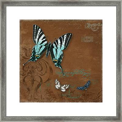Botanica Vintage Butterflies N Moths Collage 3 Framed Print by Audrey Jeanne Roberts
