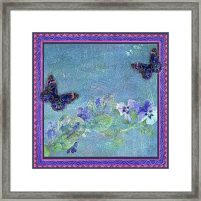 Botanical And Colorful Butterflies Framed Print