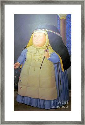 Botero Nunn In Blue Framed Print