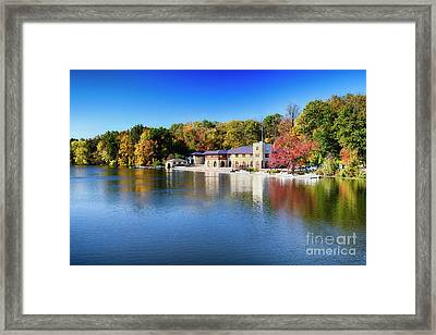 Boathouse On Lake Carnegie With Autumn Foliage Framed Print