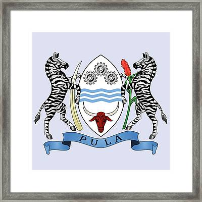 Framed Print featuring the drawing Botswana Coat Of Arms by Movie Poster Prints