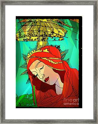 Botticelli Madonna Abstract Background Framed Print