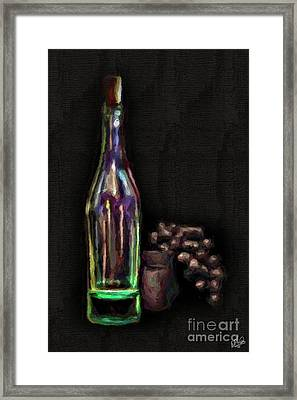 Framed Print featuring the photograph Bottle And Grapes by Walt Foegelle