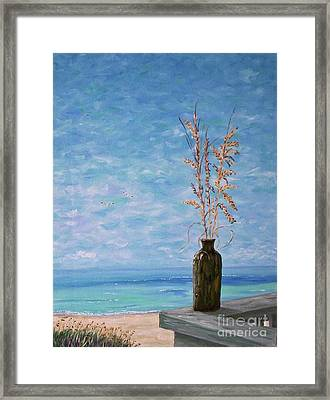 Bottle And Sea Oats Framed Print