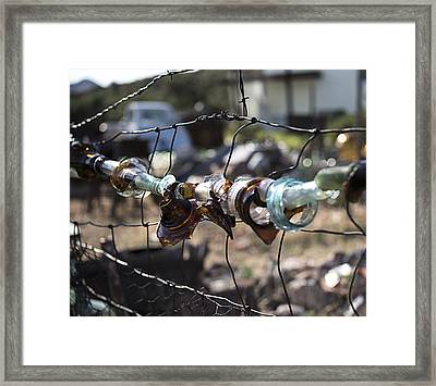 Framed Print featuring the photograph Bottle Fence by Annette Berglund