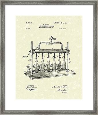 Bottle Filling Machine 1903 Patent Art Framed Print by Prior Art Design