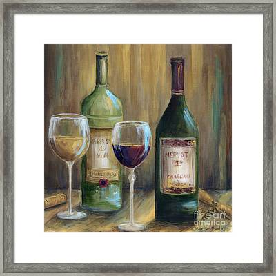 Bottle Of Red Bottle Of White   Framed Print by Marilyn Dunlap