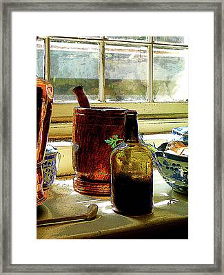 Bottle With Mortar And Pestle Framed Print by Susan Savad