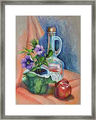 Bottle With Plants Still Life Framed Print by Stephen Boyle