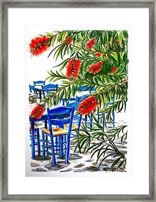 Bottlebrush And Blue Framed Print by Yvonne Ayoub