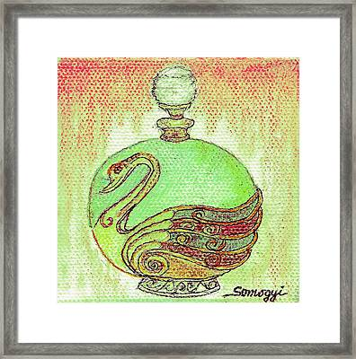 Bottled Kiwi Green Swan Framed Print