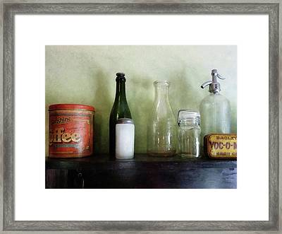 Bottles And A Coffee Can Framed Print